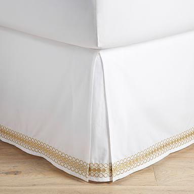 Lilly Pulitzer Organic Embroidered Trim Bed Skirt, Full, Gold