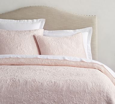 Monique Lhuillier Blossom Embroidered Quilt & Shams Full/Queen Shell