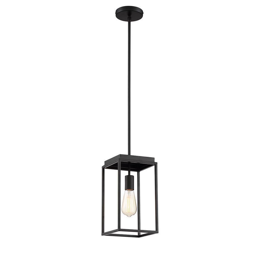 Home Decorators Collection Rollins 1-Light Black Mini Pendant