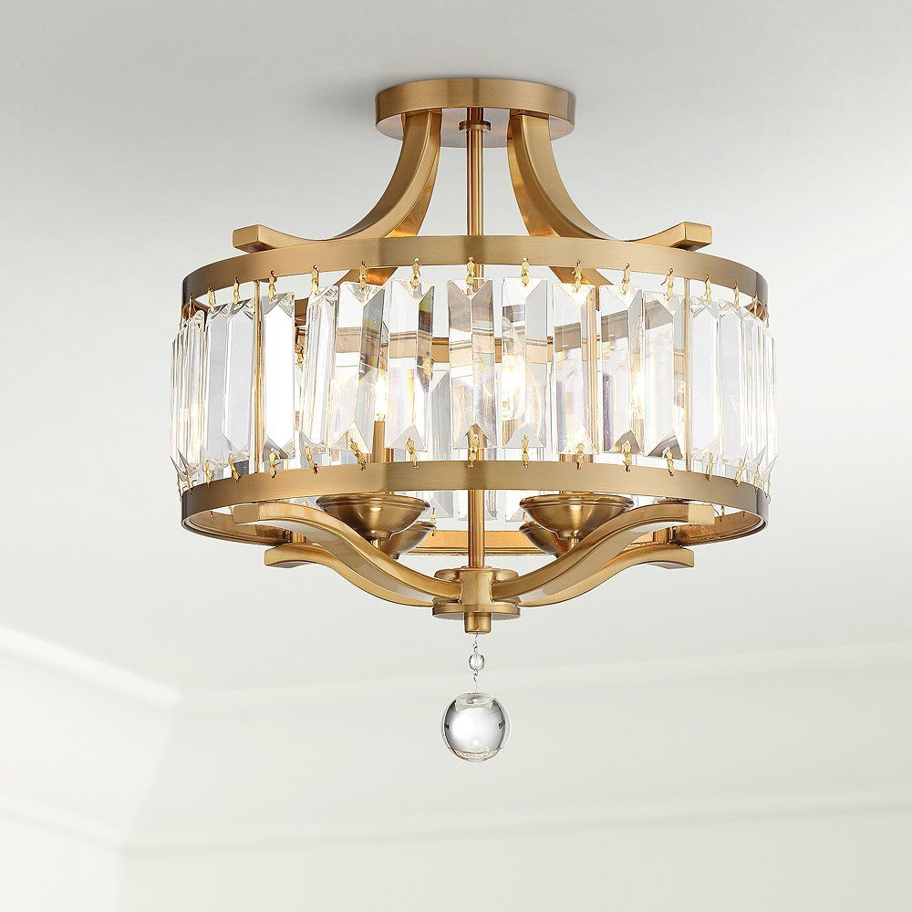 """Prava 16 1/2""""W Crystal and Warm Brass Ceiling Light - Style # 71E73"""