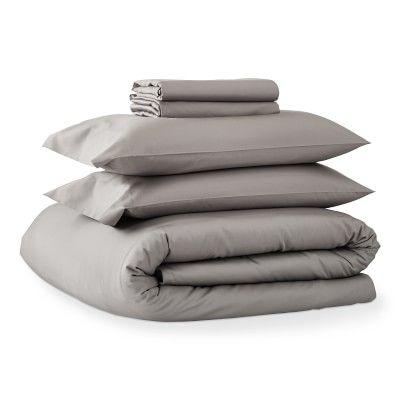 Chambers(R) Italian 300TC Sateen Sheet Set and Duvet Bedding Bundle, King, Gray