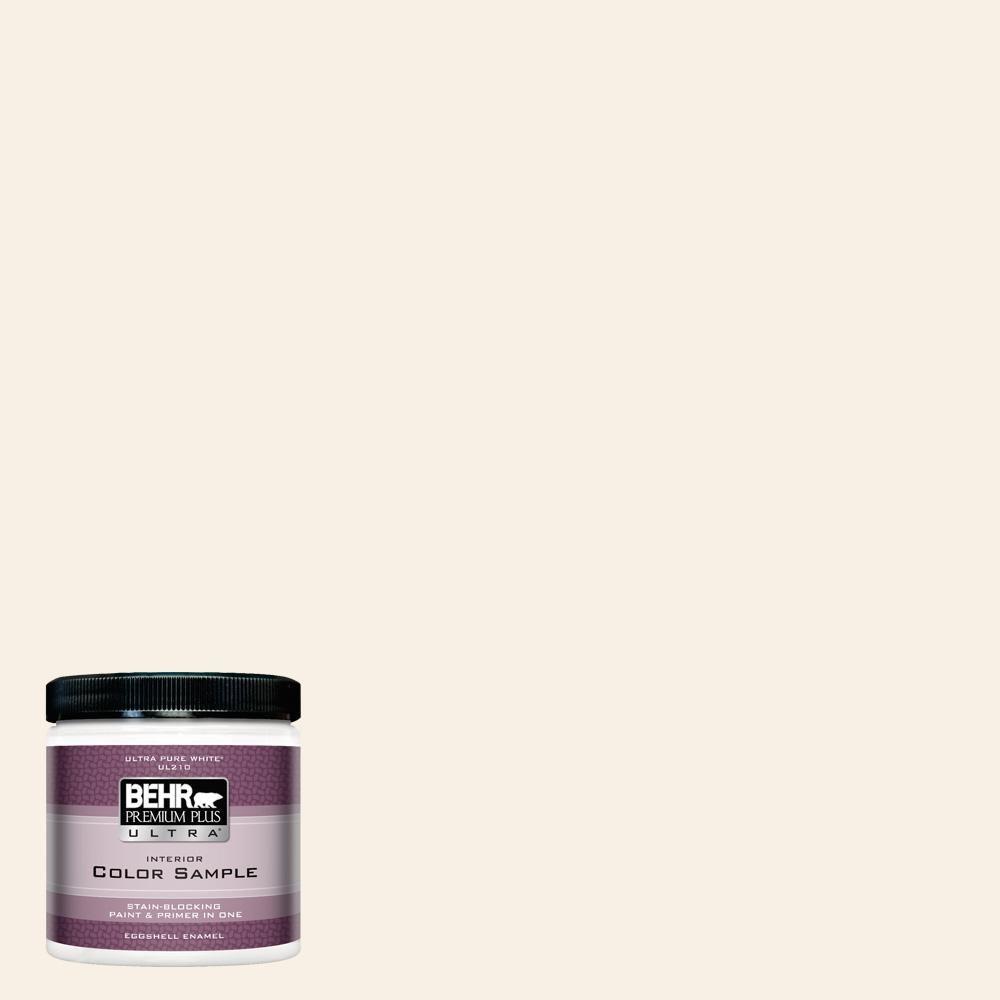 BEHR Premium Plus Ultra 8 oz. #OR-W14 White Veil Eggshell Enamel Interior Paint and Primer in One Sample