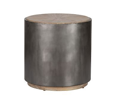 Brockton Metal Wrapped End Table, Natural And Antiqued Black