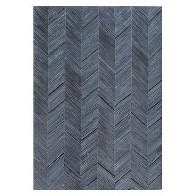 Natural Hide Hand-Tufted Cowhide Blue/Black Area Rug