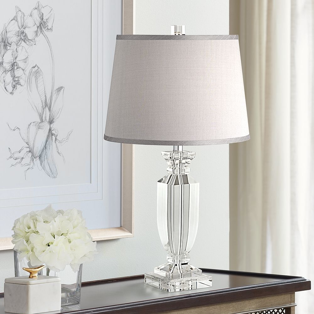Sherry Crystal Table Lamp with Gray Shade - Style # 53X57