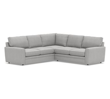 Pearce Square Arm Upholstered 2-Piece L-Shaped Sectional, Down Blend Wrapped Cushions, Sunbrella(R) Performance Chenille Fog
