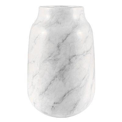 White Faux Marble Table Vase