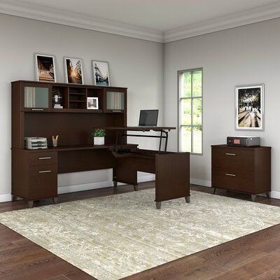 Stutler 3 Position Sit to Stand Height Adjustable L-Shape Standing Desk with Hutch