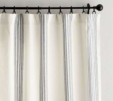 """Riviera Stripe Curtain with Blackout Liner, 50 x 108"""", Charcoal"""