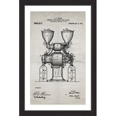 'Coffee Grinder 1911 Old Paper' by Steve King Framed Painting Print
