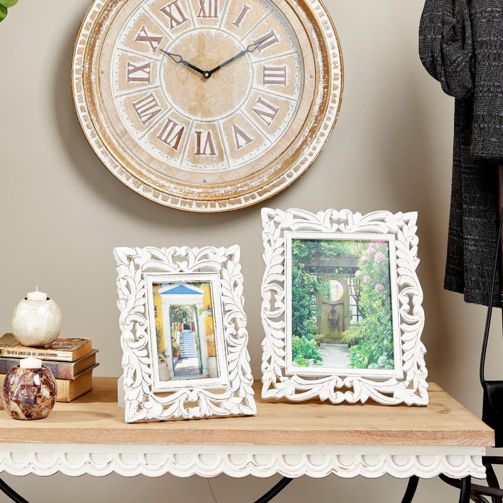 Litton Lane 5 in. x 7 in. Rectangular Carved Wood Antique Picture Frame with Whitewash Finish, White