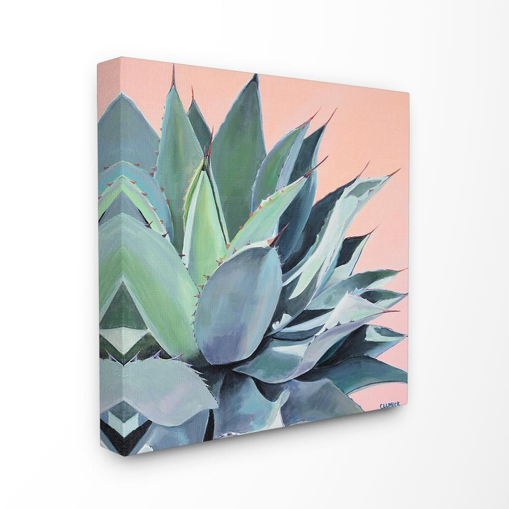 """17 in. x 17 in. """"Painted Aloe Succulent on Coral Peach Ground"""" by Niya Christine Canvas Wall Art, Multi-Colored"""