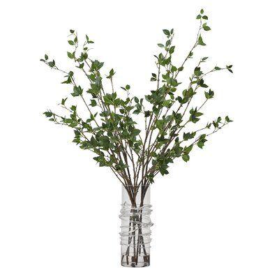 Cherry Leaf Branch in Decorative Vase