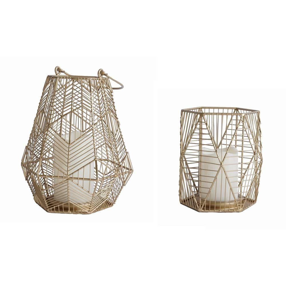 StyleWell Gold Metal Lantern (Set of 2)