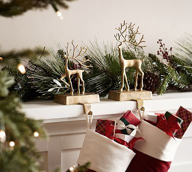 Merry Reindeer Brass Stocking Holder Collection - Small