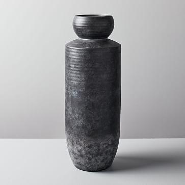Rounded Terracotta Floor Vase, Tall, Black