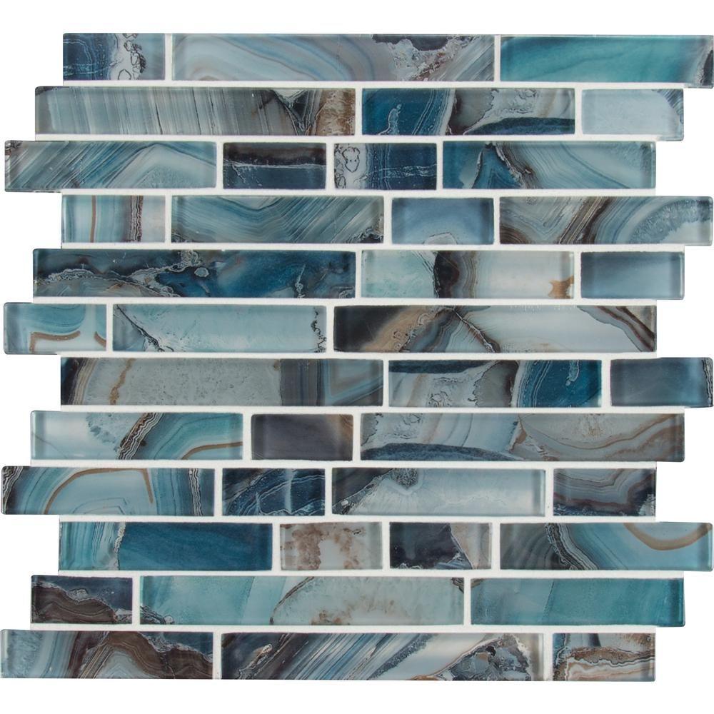 MSI Night Sky Interlocking 11.81 in. x 11.81 in. x 8mm Glass Mesh-Mounted Mosaic Tile (9.7 sq. ft. / case), Blue