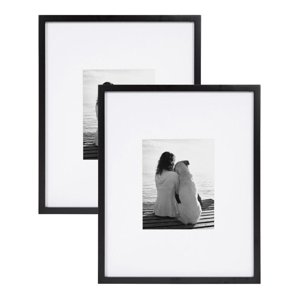 DesignOvation Gallery 16x20 matted to 8x10 Black Picture Frame Set of 2
