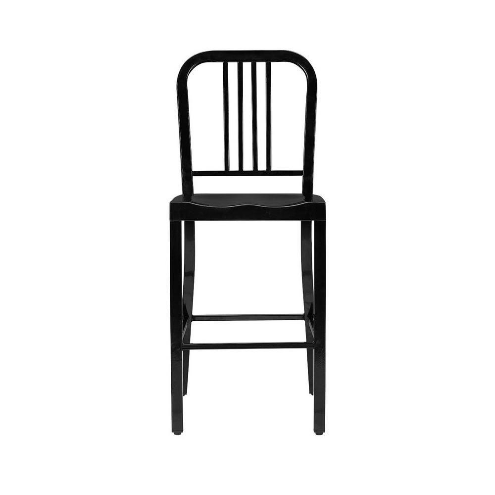 StyleWell Kipling Black Metal Counter Stool with Back (16.54 in. W x 38.98 in. H)
