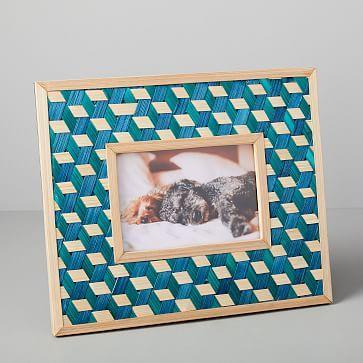 """Woven Frame, Landscape/Teal, 12""""x8"""""""