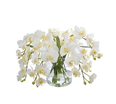 Faux Orchid Phalaenopsis In Round Glass Vase, White