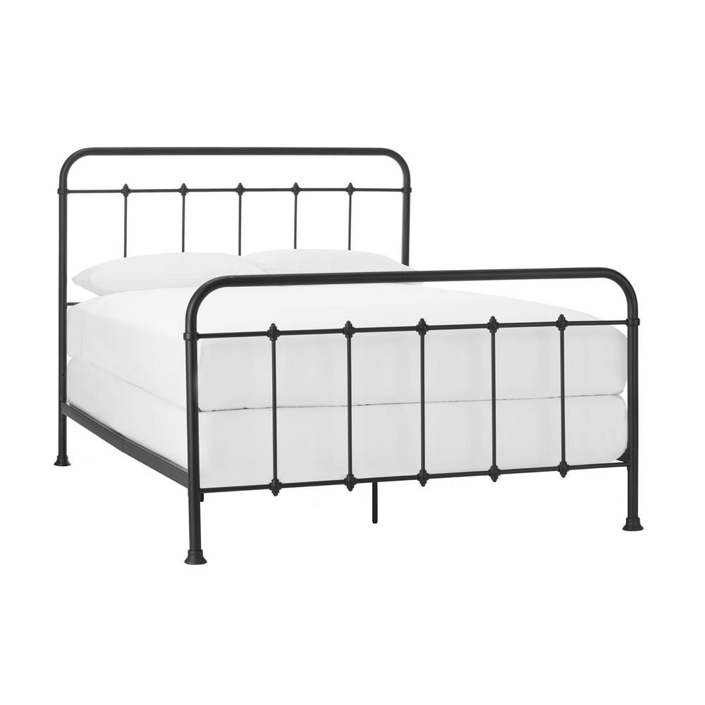 StyleWell Dorley Farmhouse Black Metal Queen Bed (64.76 in W. X 53.54 in H.)