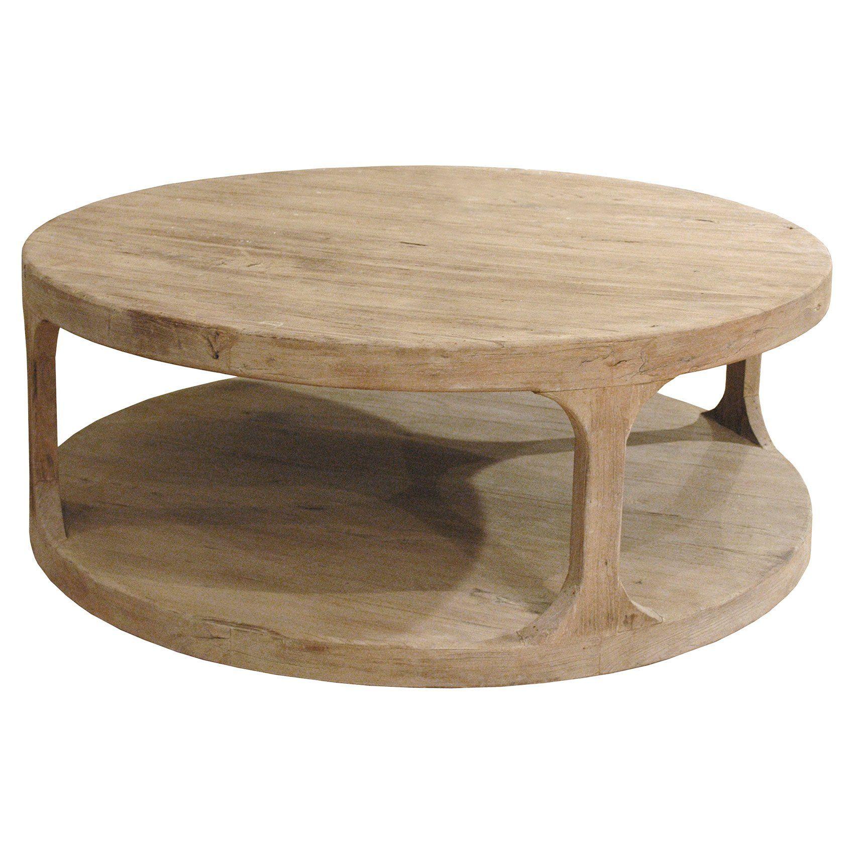 Sian Rustic Lodge Brown Pine Wood Round Coffee Table