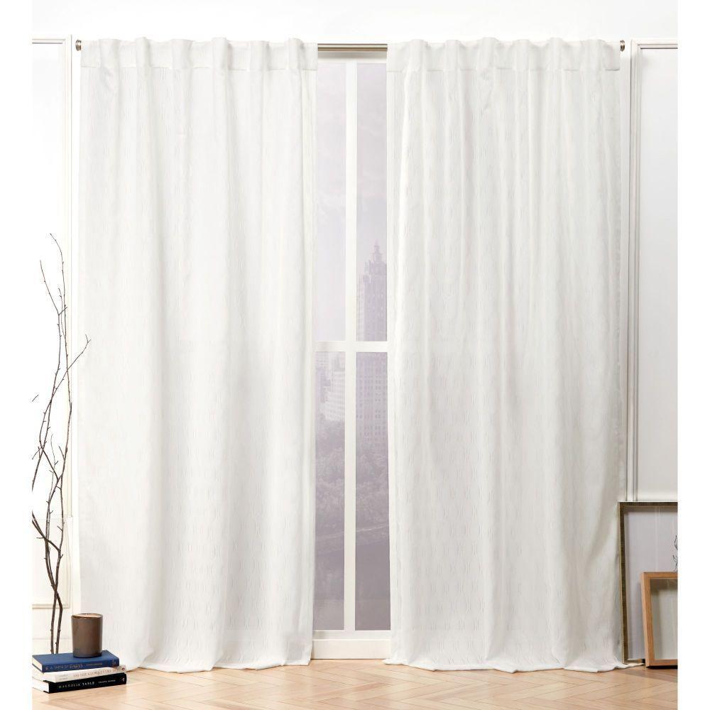 Nicole Miller Tangled Snowflake Sheer Hidden Tab Top Curtain Panel - 54 in. W x 96 in. L (2-Panel)