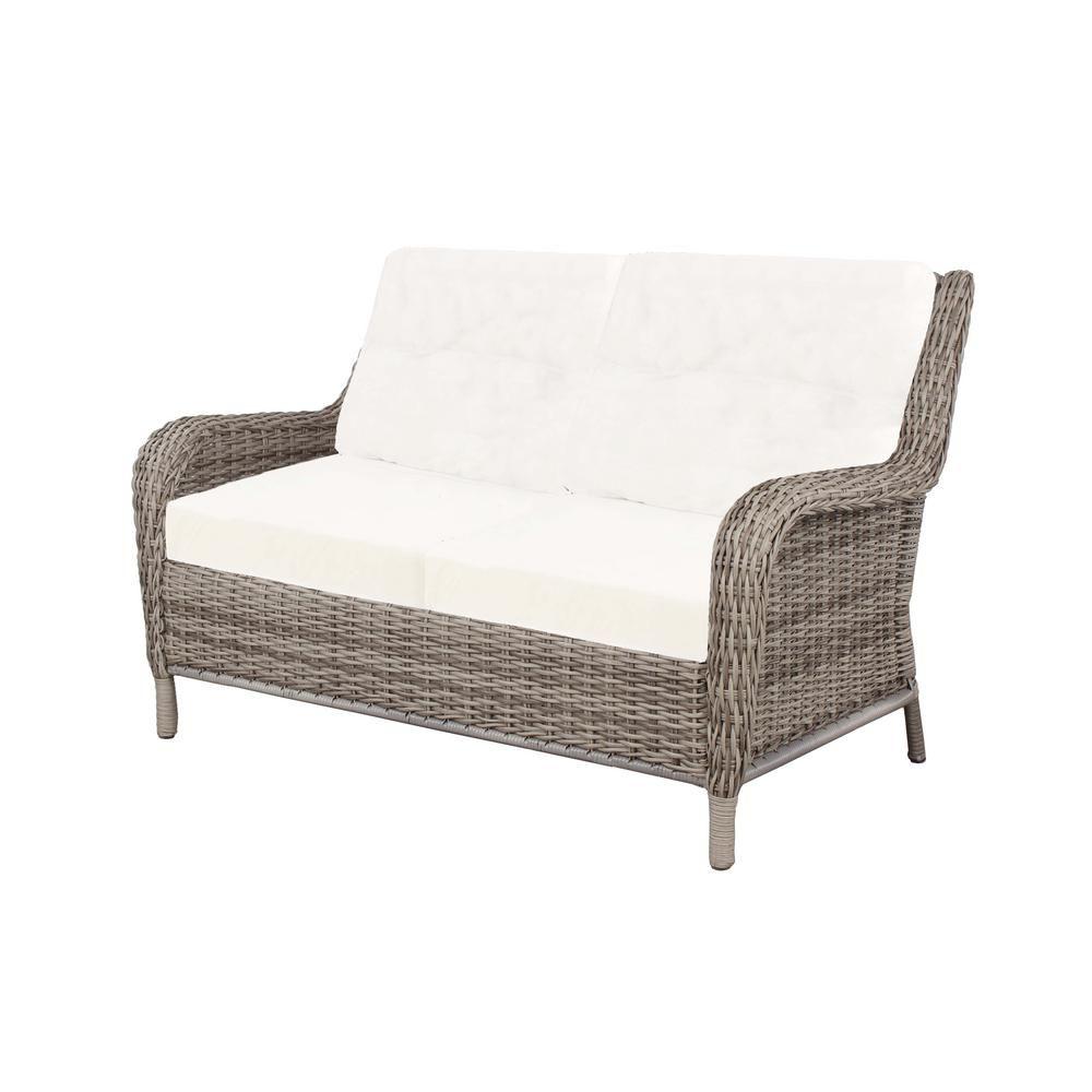 Hampton Bay Cambridge Grey Wicker Outdoor Loveseat with Bare Cushions