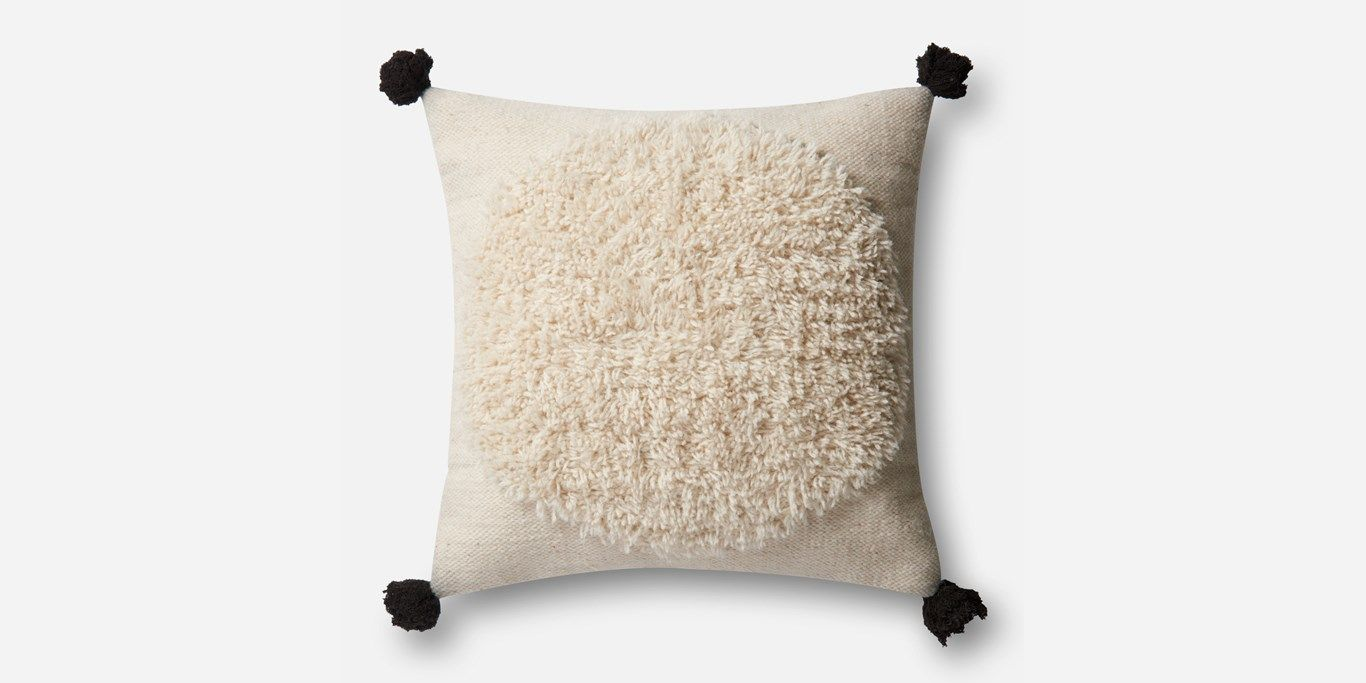"""P0483 IVORY / BLACK Pillow - 22"""" x 22"""" with down Insert"""
