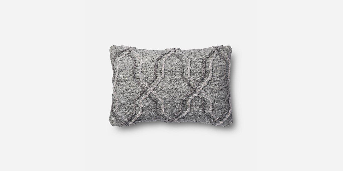 """P1014 MH GREY Pillow Cover - 13"""" x 21"""" - Poly Insert"""