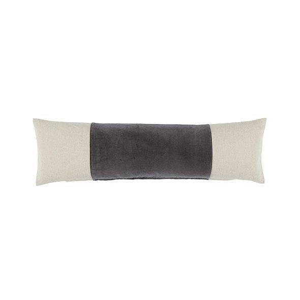 """Ballard Designs Signature Velvet & Linen Lumbar Pillow Slate 14"""" x 48"""""""