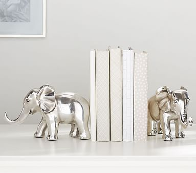 Antique Silver Elephant Bookends, Set of 2