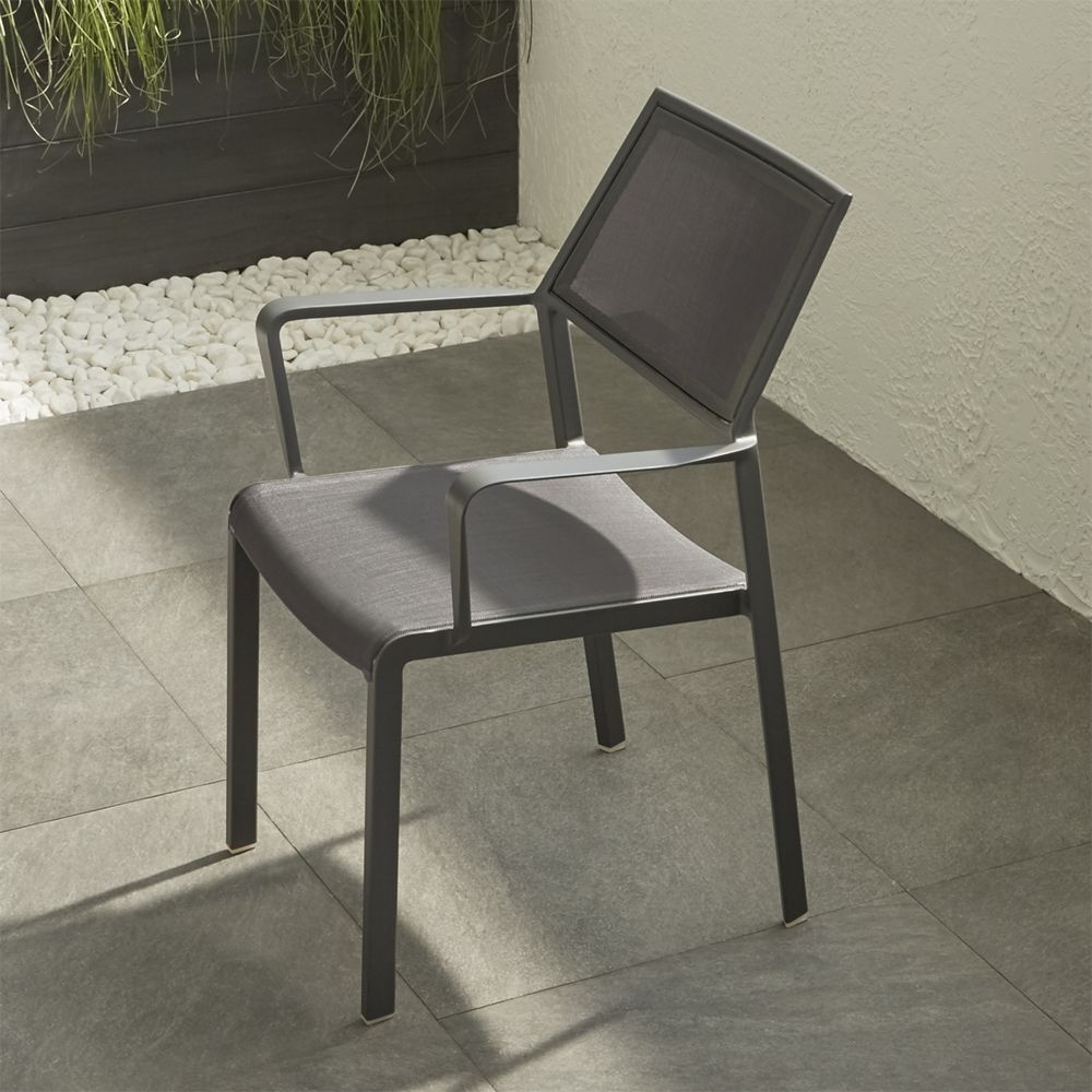 Largo Charcoal Grey Mesh Dining Chair - Crate and Barrel