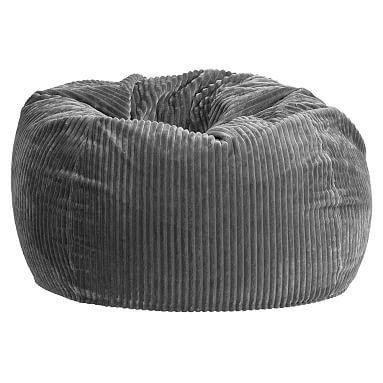 Charcoal Chamois Beanbag, Slipcover