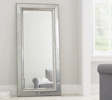 Marlena Antique Mirror Floor - Brushed Silver