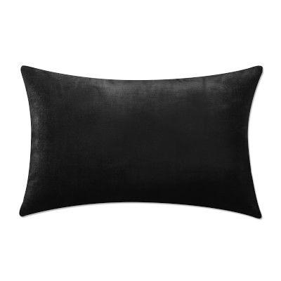 """Velvet Lumbar Pillow Cover, 14"""" X 22"""", Black"""