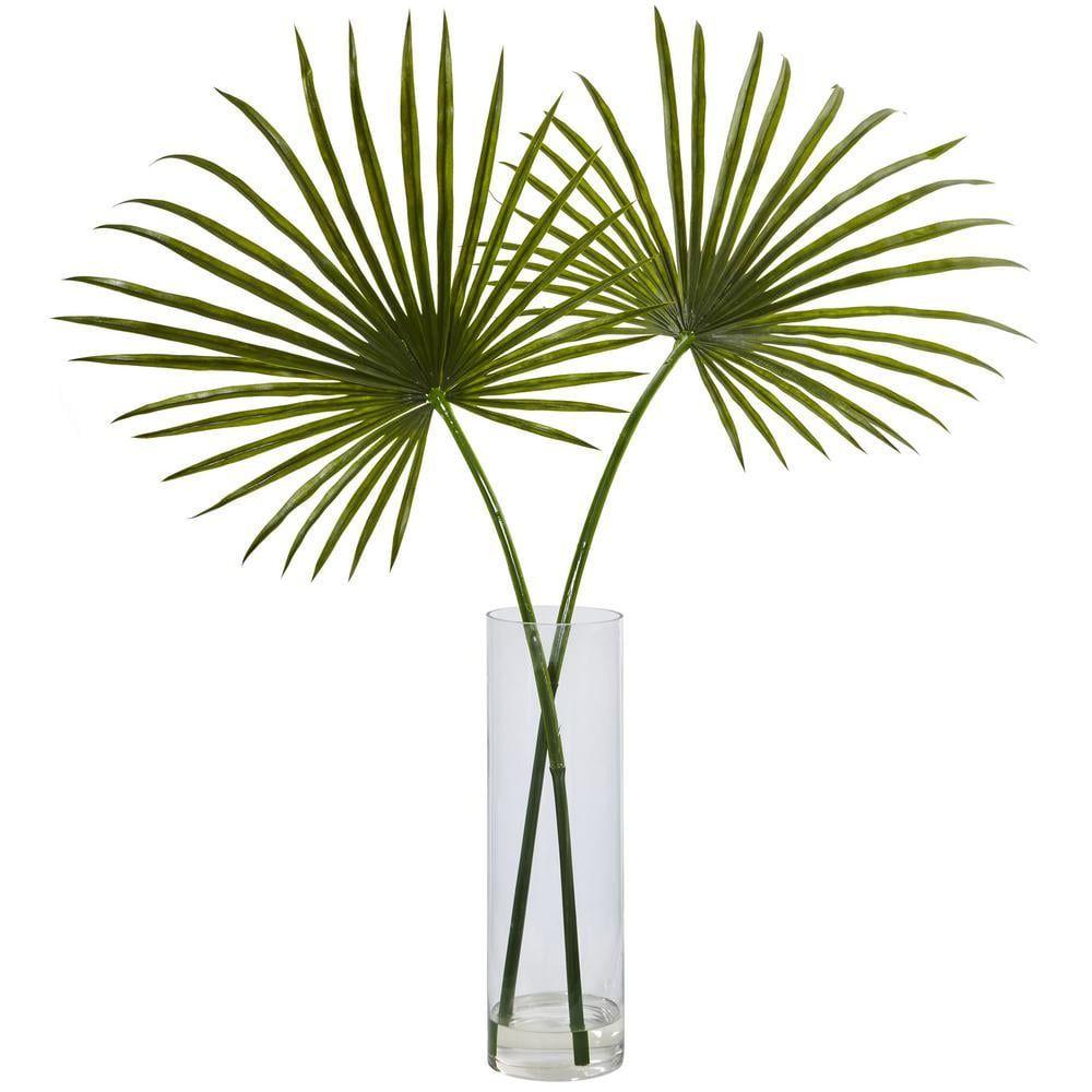 Indoor Fan Palm Artificial Arrangement in Glass Vase, Green