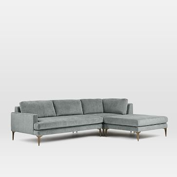 Andes Sectional Set 04: Left Arm 2 Seater Sofa, Corner, Ottoman, Poly, Distressed Velvet, Mineral Gray, Blackened Brass