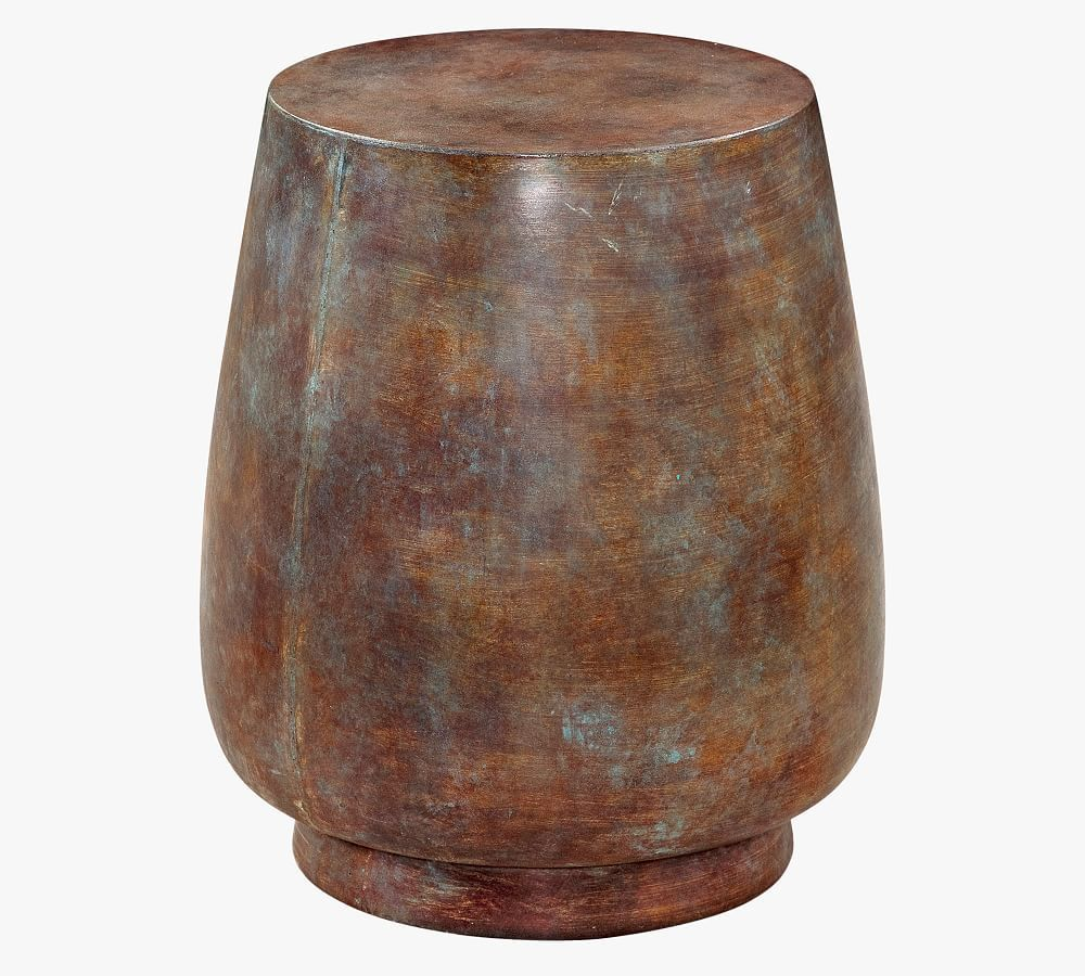 Kani Round Accent Table, Antique Rust