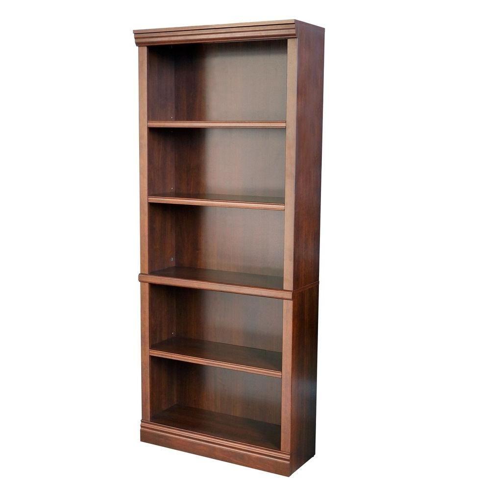 Dark Brown Wood Open Bookcase