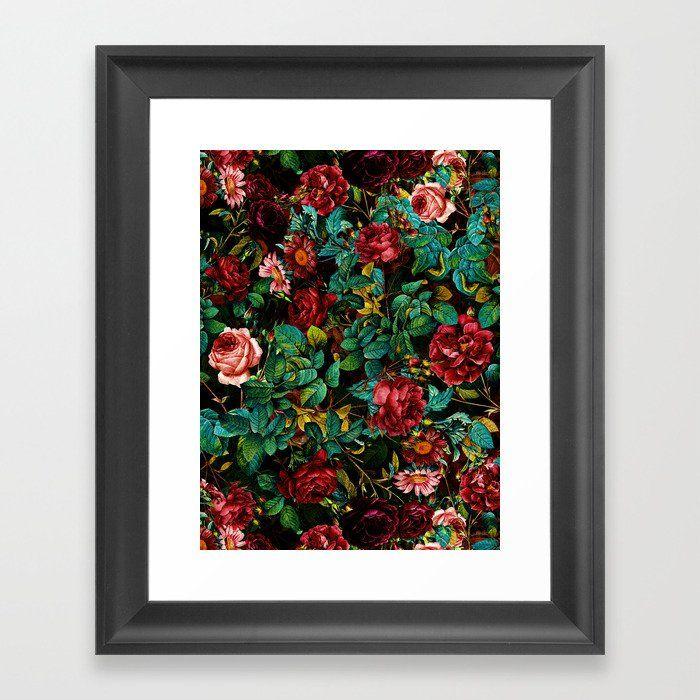 Rose Night Garden Framed Art Print by Burcu Korkmazyurek - Scoop Black - X-Small-10x12