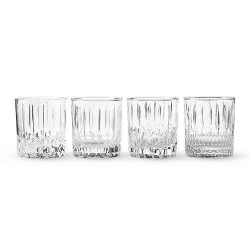 Wilshire Clear Cut Double Old-Fashioned Glasses, Set of 4