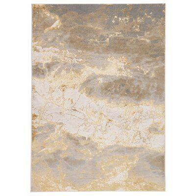 Maslynn Abstract Gray/Gold Area Rug