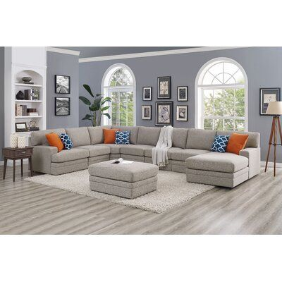 """Episkopi 6  Seater Large 167"""" Right Hand Facing Sectional Sofa With Ottoman"""