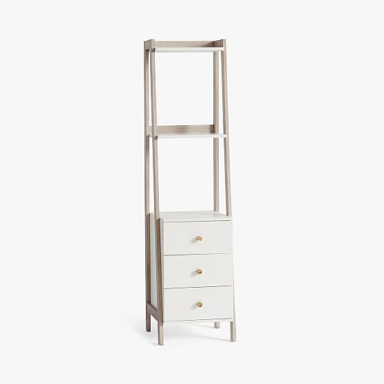 Highland Bookcase with Drawers,Weathered White