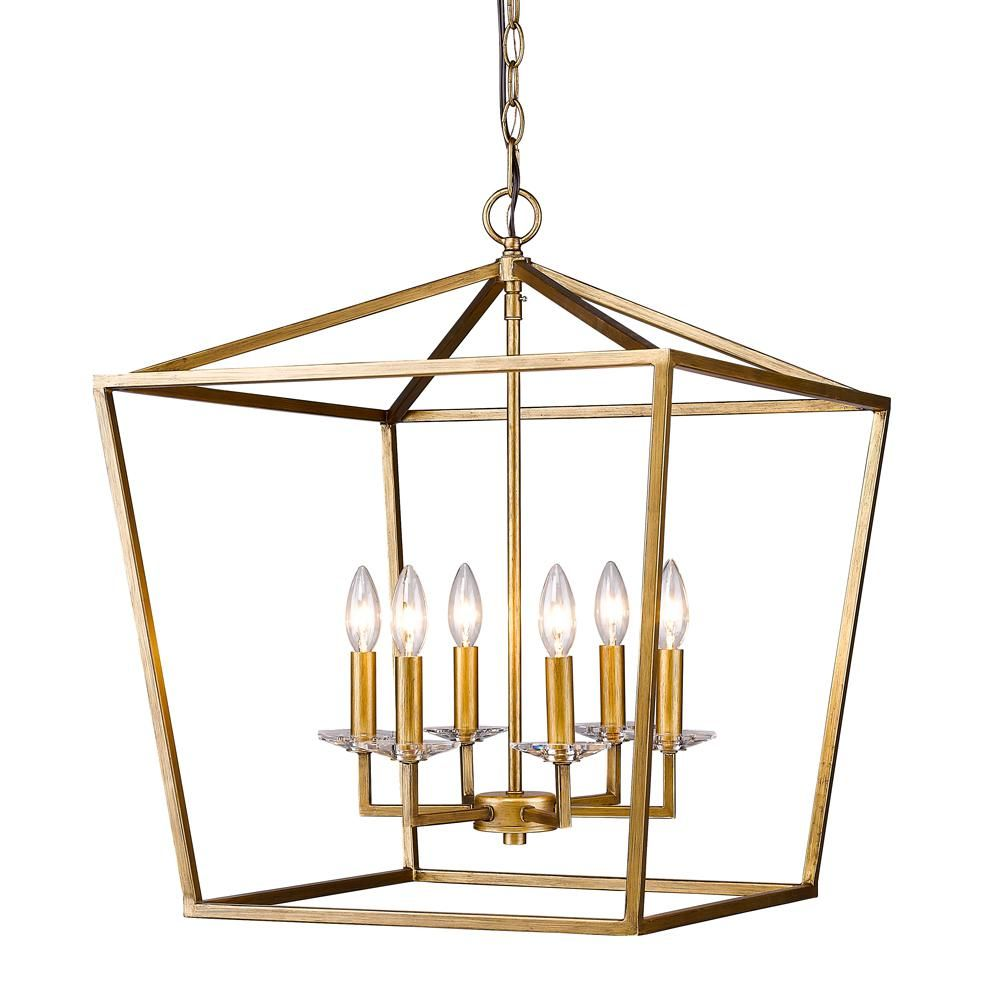 Acclaim Lighting Kennedy Indoor 6-Light Antique Gold Chandelier with Crystal Bobeches