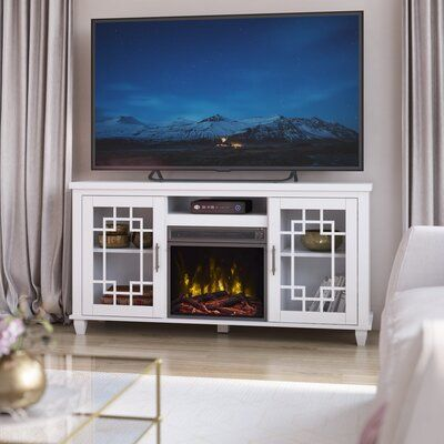 """Tito TV Stand for TVs up to 60"""" with Electric Fireplace Included"""