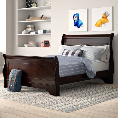 Adcock Solid Wood Low Profile Sleigh Bed