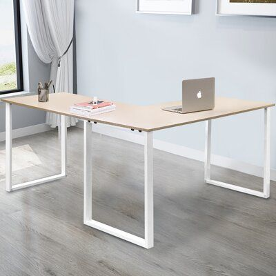 L-Shaped Computer Desk, Large Corner Desk Metal And Wood Pc Laptop Study Table Workstation Gaming Writing Desk For Home Office, Space-Saving, Easy To Assemble, Oak & White